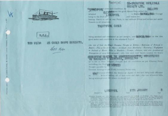 Bill Of Lading SS Dellwyn