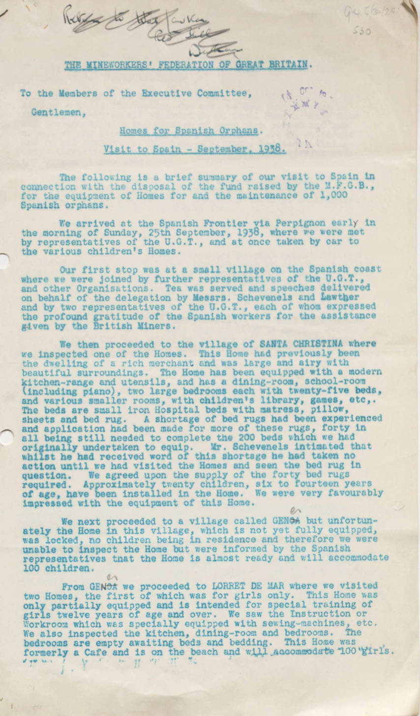 Homes for Spanish orphans: report of visit to Spain, September 1938 ...