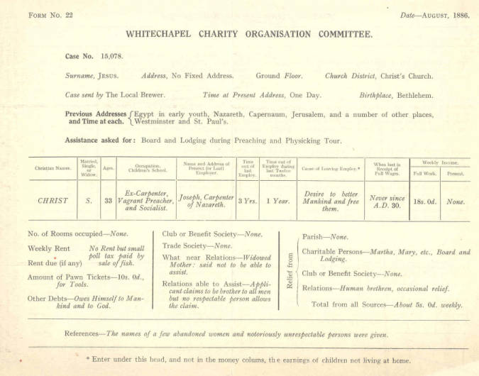 Whitechapel Charity Organisation Committee: mock application